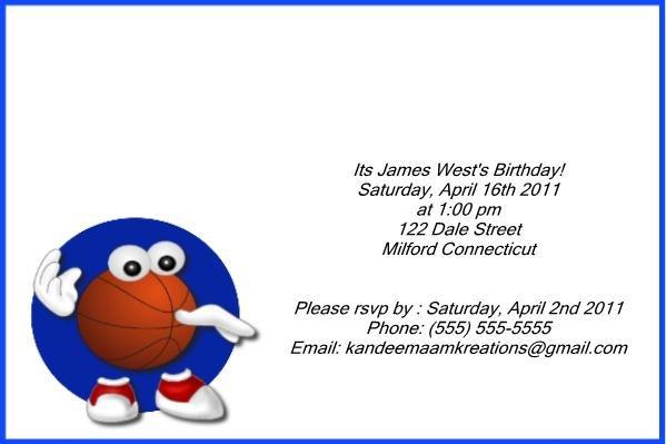 Basketball1 kids birthday invitation
