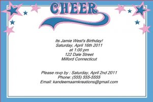 Cheerleading kids birthday invitations