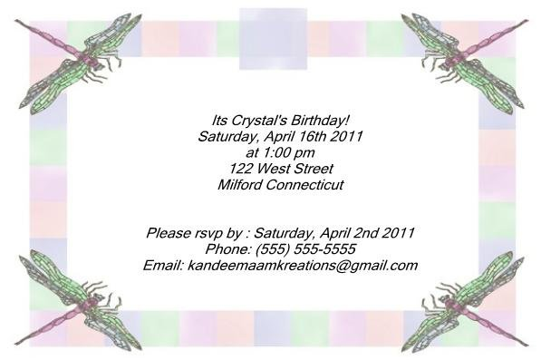 Dragonfly kids birthday invitations