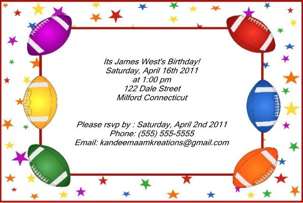 Football1 kids birthday invitations
