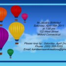 Hot air balloons kids birthday invitations