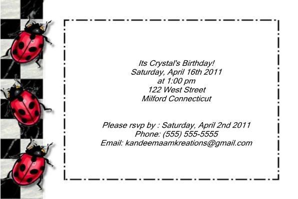 Ladybug kids birthday invitations