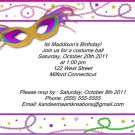 Masquerade kids birthday invitations