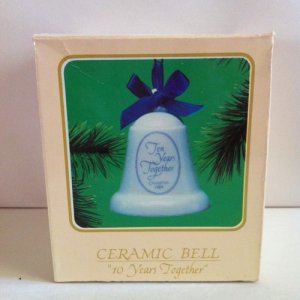 "Hallmark Ornament Ceramic Bell Dated 1984. ""10 Years Togeather"""