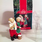 Hallmark 1990 Popcorn Party Mr and Mrs Claus Ornament