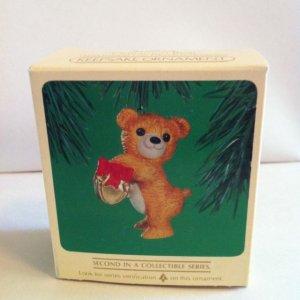 1984 Hallmark Cinnamon Bear Porcelain Series Christmas Ornament