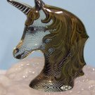 (2) UNICORN items: Abraham Palatnik Lucite Acrylic sculpture & a stamp 467 472