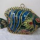 Beautiful Cloisonne? Metal? Tropical Fish Holiday Ornament Figurine Vintage? 615