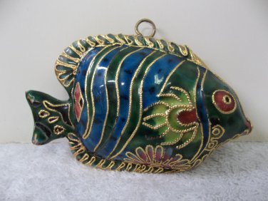 Beautiful Cloisonne? Metal? Tropical Fish Holiday Ornament Figurine Vintage? 615
