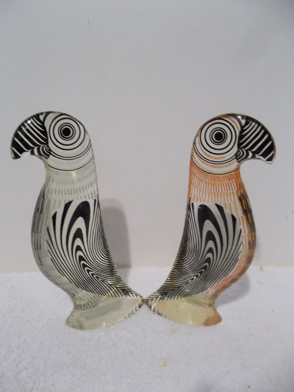 2 Small Palatnik Lucite Acrylic PARROT BIRDS Sculptures Figurines PAL 5111106