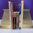VTG Pair of HEAVY I Beam Gold Railroad Industrial Modern Sculpture Bookends 2370