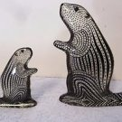 2 Palatnik Lucite Acrylic Beaver Ground Hog Otter Figurines Sculptures 231942