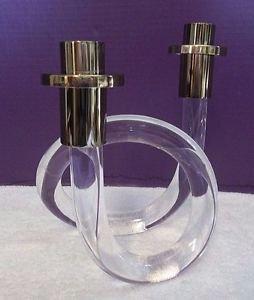 RARE Dorothy Thorpe Lucite Acrylic GOLD Candle Holder Candleholder Pretzel 2450