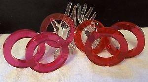 (6) VTG NOS Fuchsia & Cranberry Lucite Acrylic Bangles Bracelets Estee Lauder