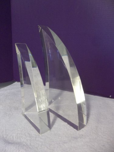 2 Vintage Thick Abstract Lucite Acrylic Modern Minimalist MCM Sculptures 2615