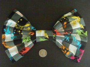 Medium Black & White Check Paint Splatter Print Scene Hair Bow w/snap clip