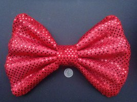 """Large """"Shiny Red Sequin Dot""""  Massive Scene Fashionista Huge Hair Bow"""