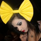 Large Canary Yellow Vinyl Huge Fashionista Scene Rockabilly Hair Bow w/snapclip