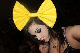 Large Canary Yellow Vinyl Huge Fashionista Scene Rockabilly Hair Bow w/snapclip