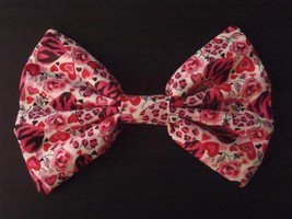 Large Pink Hearts & Roses on white Huge Massive Fashionista Hair Bow w/snapclip