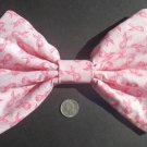 Medium Pink (breast cancer awareness) Ribbons Dot Print Hair Bow w/snap clip