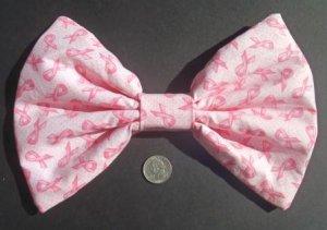 Medium Pink (breast cancer awareness) Ribbons Dot Print Hair Bow w/snap clip