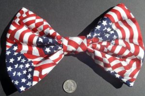 "Medium ""US American Flag"" Stars/Stripes New Patriotic Fashion Scene Hair Bow"
