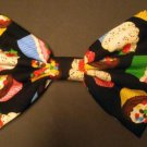 "Medium ""Cupcakes & Candy"" on Black Print Fabric Fashionista Scene Hair Bow"