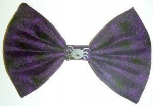 "Medium ""Halloween Treats"" Black Spider Webs on Purple Fashion Hair Bow with snap clip"