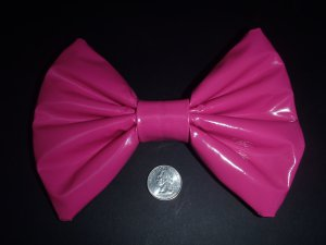 SMALL Hot Pink Pleather Huge Massive Fashionista Scene Hair Bow w/snap clip