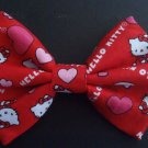 "Mini Valentine's Day Bow""Hello Kitty"" Hearts on Red Fashion Hair Bow w/snapclip"