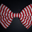 "Valentine's Day SALE 5""x7"" ""Red & White Stripes"" Fashion Hair Bow w/snapclip"