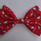 "Valentine's Day Sale ""Hello Kitty"" Hearts on Red 7"" x 10"" Hair Bow w/snapclip"