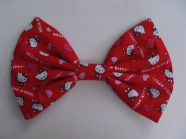 """Valentine's Day Sale """"Hello Kitty"""" Hearts on Red 7"""" x 10"""" Hair Bow w/snapclip"""