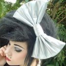"""Sale Medium """"Silver Pleather"""" Trendsetter Fashion Scene Hair Bow with snap clip"""