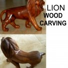 Large Lion Wood Carving