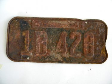 Antique License Plate � California 1945 1 B428