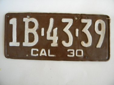 Antique License Plate � California 1930 1 B4339