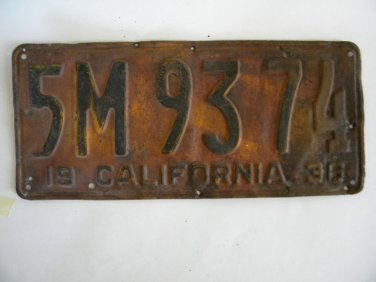 Antique License Plate � California 1930 5M9374
