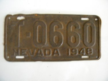Antique License Plate � Nevada 1948 T 0660