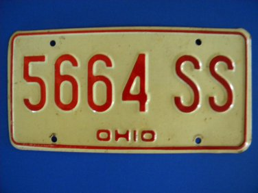Vintage License Plate - Ohio 5664 SS