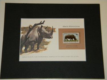 Matted Print and Stamp - Black Rhinoceros - World Wildlife Fund