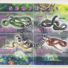 Congo Souvenir Sheet of Postage Stamps - Snakes