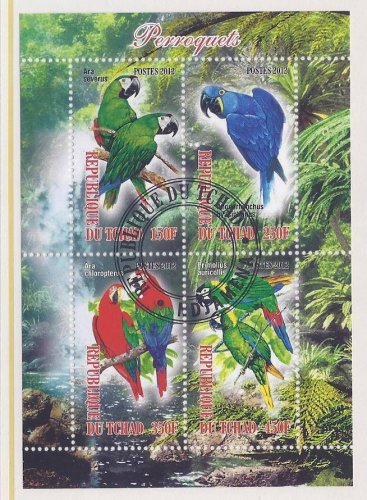 Parrot Postage Stamps From Chad