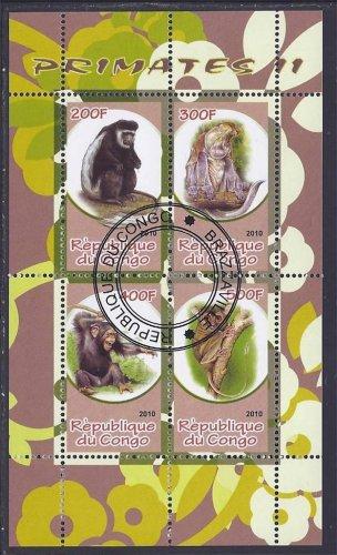 Congo Souvenir Sheet of Postage Stamps - Monkeys