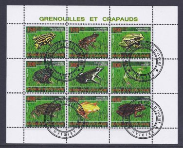 Frog Postage Stamp Souvenir Sheet From the Ivory Coast