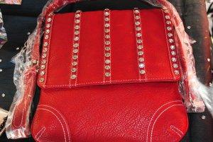 Red Handbag/Rhinestones on Flap