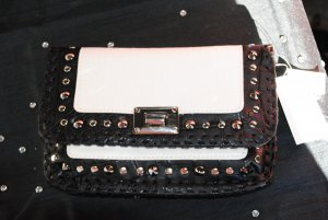 Black small leather bag (white with black with studs)