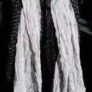 black and grey scarf with pink and white polka dots