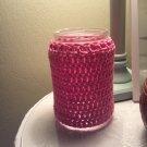 Homemade crochet covered jar